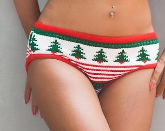 Christmas Lingerie - Christmas Underwear - Knit Panties - Knit Christmas Tree Panties - Christmas Sweater -  Knit Christmas Panties