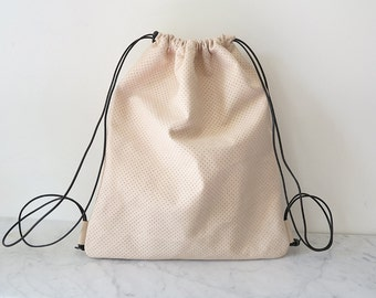 Leather Backpack / Draw-String Pack / concrete grey