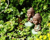 Fairy Garden Miniature Ceramic Small Buddha Sitting Garden / Plant / Dollhouse Decoration Miniature Terrarium Accessories