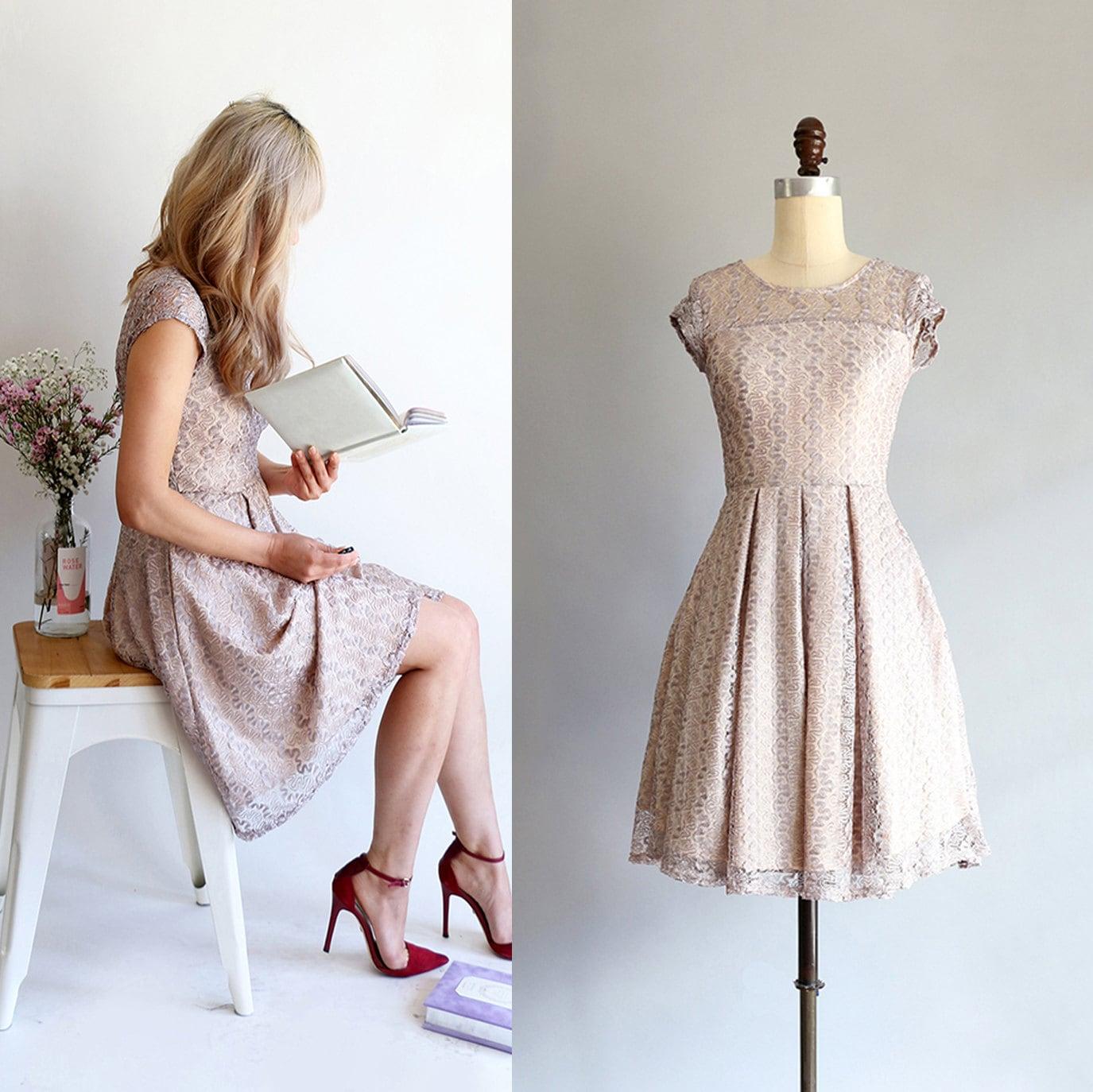 GOSSAMER Fawn golden taupe gray bridesmaid dress short
