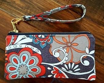 Floral Wristlet,  Small handbag, Wristlet, Small purse, Cell phone wallet