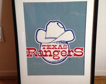 Vintage Felt Texas Rangers Poster