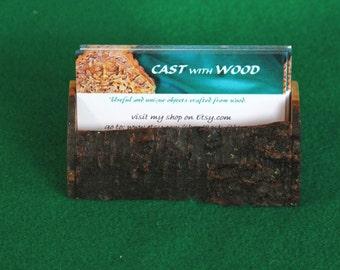 Business Card Holder - Wooden, Hand-Made, OOAK, Live Edge (item 062)