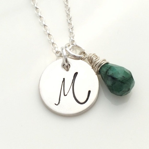 emerald necklace initial pendant may birthstone necklace