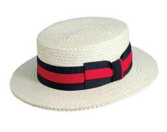 LA SCALA Classic Straw Boater Hat