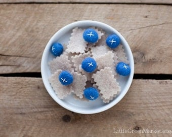 Oatmeal with blueberries, breakfast, felt food, play food, cereal, felt play food, felt breakfast,toy food, felt food set