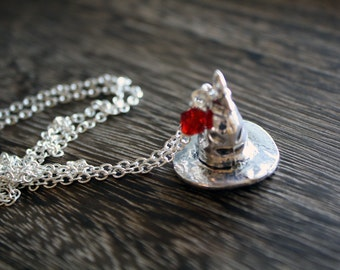 Harry Potter Necklace - Silver Sorting Hat House Color Necklace - Great Harry Potter Fan Gift!