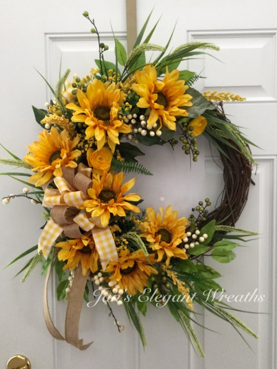 Mother S Day Gift Sunflower Wreath Spring Wreath