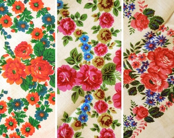 Vintage woolen shawl Woolen scarf with floral pattern set of 2 #116