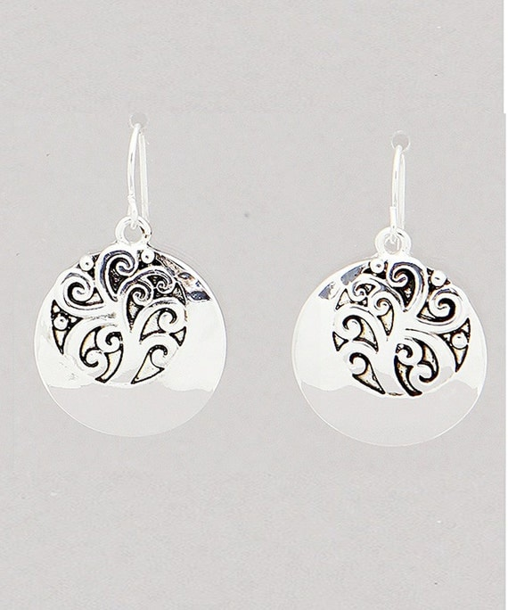 Circle Disc Earrings Simple Chic Silvertone Tree of Life