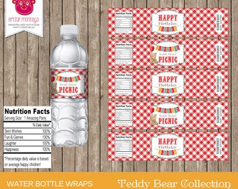 Printable Teddy Bears' Picnic Water Bottle Labels | Personalized
