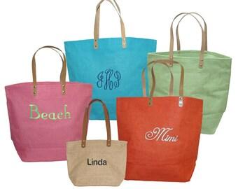 Monogram Jute Tote Bag