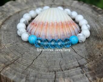 White/Blue Howlite Turquoise & Crystal Beaded Bracelet.