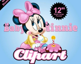 BABY MINNIE MOUSE - Clipart - 10 png files 300 dpi - For Cardmaking, Scrapbooking, Party Decorations and More - Instant Download