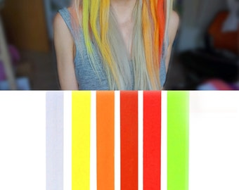 6 Best Temporary SUNRISE Ombre hair Dye for dark and light hair - Set of 6 | DIY Orange Ombre hair Chalk for easy and simple hair coloring