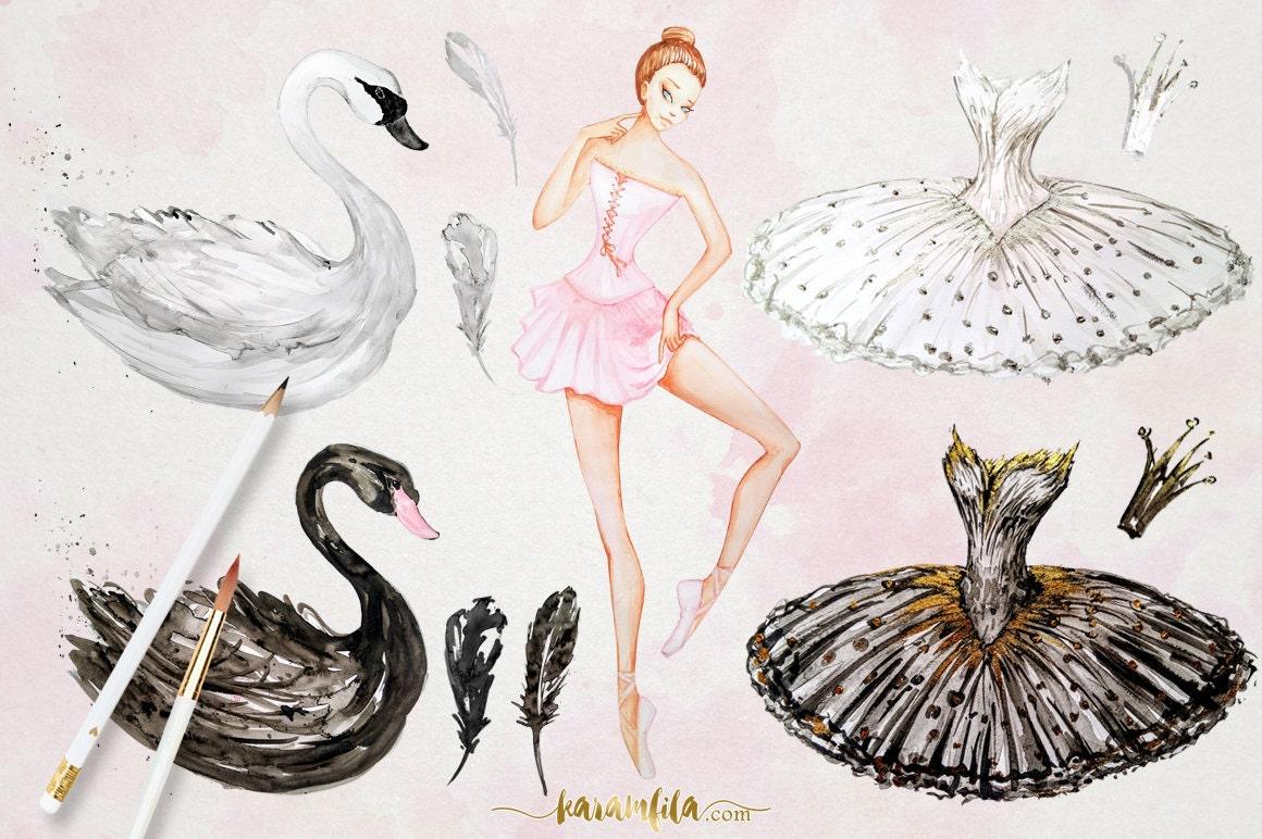 Swan Lake Clipart Watercolor Ballerina C...
