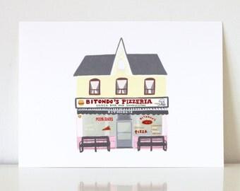 Bitondo's Pizzeria Print, Pizza Shop, Toronto Storefront Print, 5x7 Illustration, Local Restaurant Fine Art Print