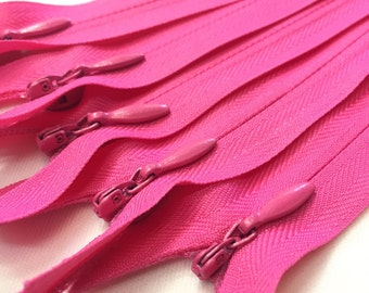 10 Invisible Zippers 8inches in Hot Pink