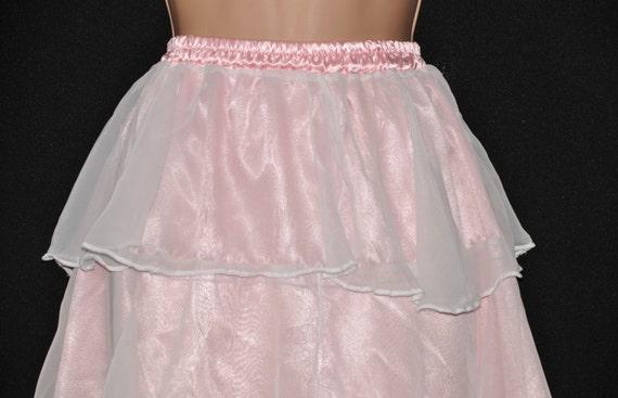 Beautiful pink satin & sheer chiffon feminine petticoat, ideal sissy lingerie