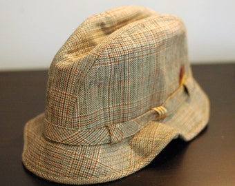 gray plaid tweed bucket hat w feather
