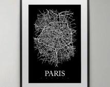 Paris Map Print, France, Street map, City Map Print, Scandinavian poster, Modern art, wall art, Instant Download, Home decor.