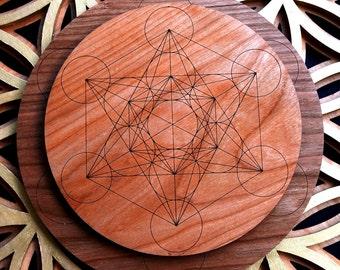 Metatron's Cube Sacred Geometry Natural Hardwood Crystal Grid - LaserTrees Laser Cut Fruit of Life Merkaba Tetrahedron LT40017