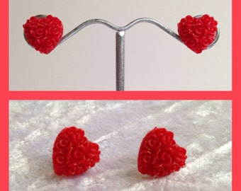 Red Posy Heart Floral Stud Earrings. Valentine's gift
