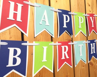 custom red green blue birthday banner, custom banner, birthday banner, party decorations, party banner, happy birthday,1st birthday,birthday