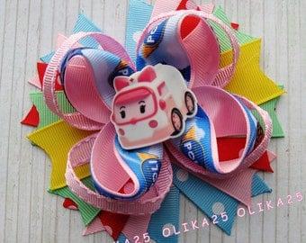 Robocar poli hair bow Robocar poli bow Over the top bow Boutique Hair Bow Robocar poli party Girls hair bows Robocar poli outfit