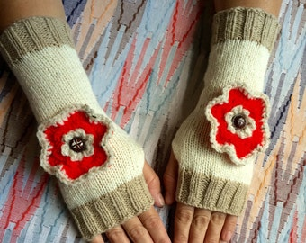 Hand knitted, fingerless gloves/ wrist warmers with flowers, winter accessories, fingerless mittens.
