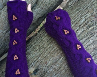 Hand knitted, cable fingerless gloves. Perfect Valentines Gift