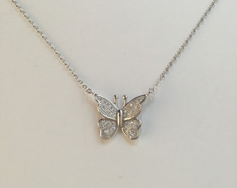 Butterfly necklace,925 sterling silver butterfly CZ pendant necklace