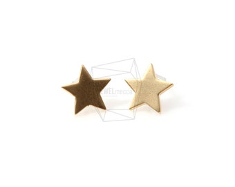 ERG-094-G/2Pcs-star Ear Post/ 10m x 10mm /Post Earring /Gold Plated over Brass/925 sterling silver post