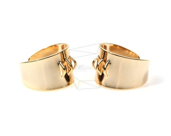 RNG-005-G/2pcs/Band Ring/20mm x 23mm/Adjustable Ring/Gold Plated Over Brass