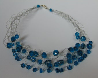 Blue Glass bead and wire necklace