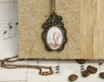 necklace ...tipToeFairytale... hand drawn, Cabochon, copper