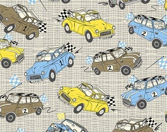 Mini Cooper British Classic Cars Minis Cotton Fabric Yellow Grey Blue by Inprint Jane Makower Fabrics per fat quarter per metre