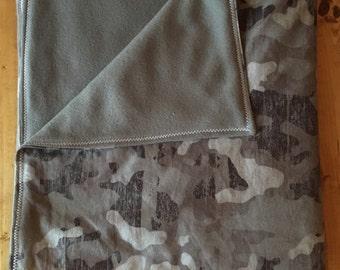 Gray Camo Flannel and Fleece Baby Blanket