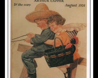 """George Petty Vintage Pinup Illustration Pinup Household Magazine August 1924 Wall Art Deco Book Print 9"""" x 11 3/4"""""""