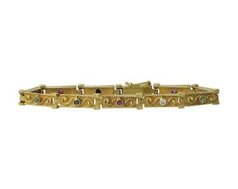 14K Gold Gemstone Victorian Revival Link Bracelet