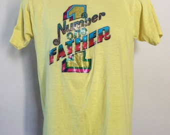 Vtg 80s Number One Father Iron-On T-Shirt Yellow M