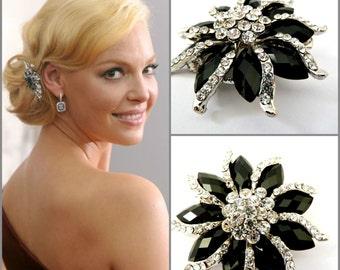 celebrity black flower rhinestone hair clipblack crystal bridal flower hair clipwedding