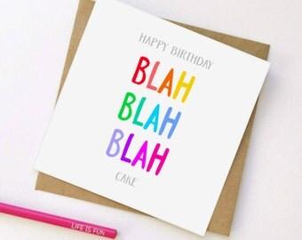 Cake Birthday Card, Birthday Cake Card, Funny Card