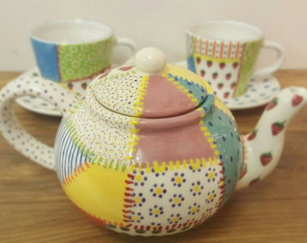 Patchwork English Teapot 4 cup Traditional Hand Painted Ceramic Teapot - Tea Lover Gift