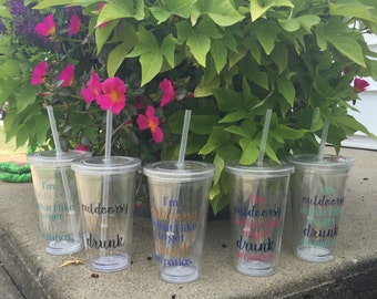 1 - 16oz. I'm outdoorsy in that I like to get drunk on patios tumbler, glitter tubler, drinking tumbler, outdoor cup, drunk on patios tumble