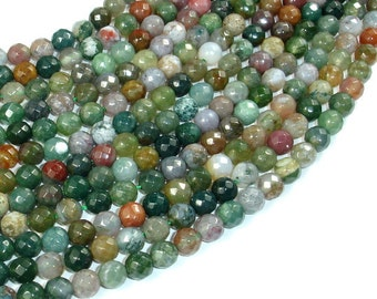 Indian Agate Beads, Fancy Jasper Beads, 6mm (6.3 mm) Faceted Round Beads, 15 Inch, Full strand, Approx 61 beads, Hole 1 mm (282025004)