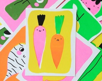 Happy Fruit and Vegetables Screen Printed Card Set (8 Cards!)
