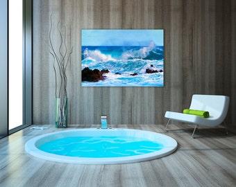 Metal wall art seascape etsy for Seascape bathroom ideas