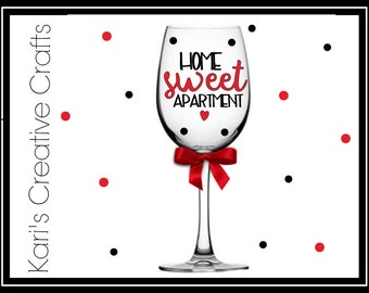 New Apartment, New Home, House warming gift, Home sweet home, apartment, moving gift, personalized wine glass, custom wine glass