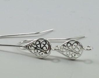 Sterling Silver, Filigree Teardrop, Teardrop Earwire, Filigree Earwire, Silver Teardrop, Silver Earrings, Earring Findings, Silver Findings